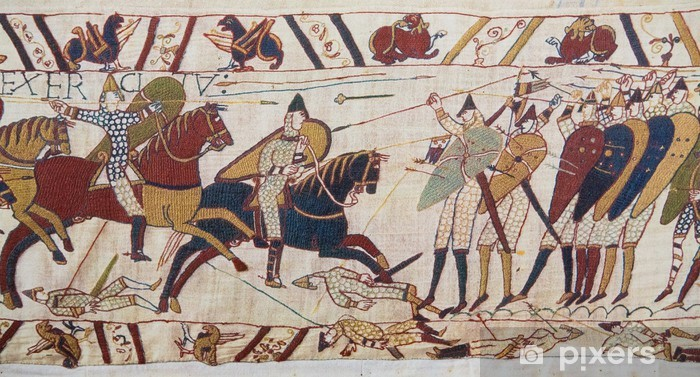 Sticker Pixerstick Invasion normande de l'Angleterre - Tapisserie de Bayeux - Europe