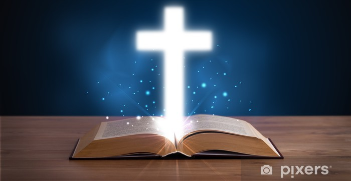 Open holy bible with glowing cross in the middle Washable Wall Mural - Public Buildings