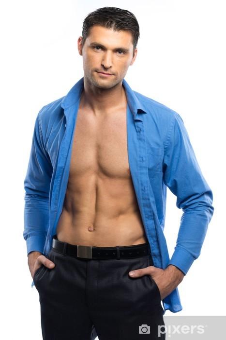 Fotomural Hombre Atractivo Hermoso En Camisa Azul Y Pantalon Negro Pixers Vivimos Para Cambiar