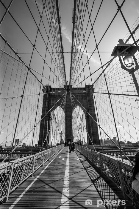 Vinilo Pixerstick Puente brooklyn blanco y negro -