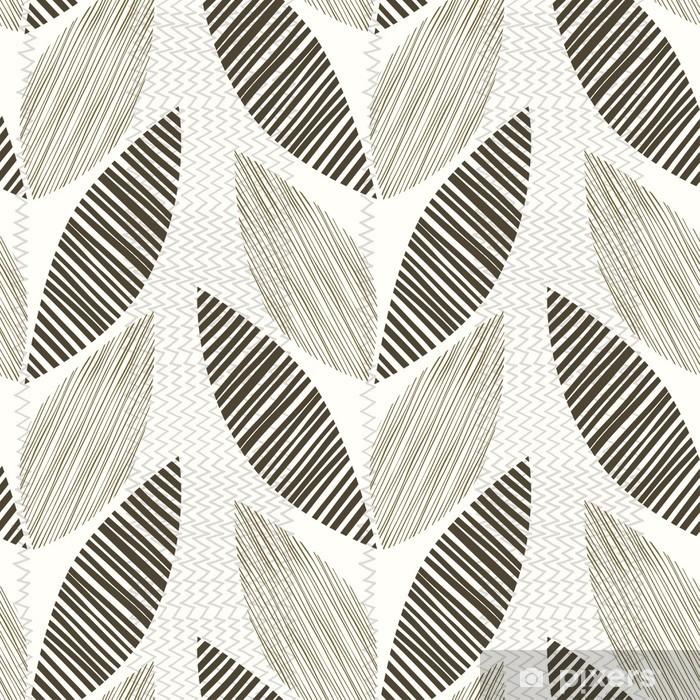 Pixerstick Sticker Monochrome naadloze patroon van abstracte bladeren. - Planten