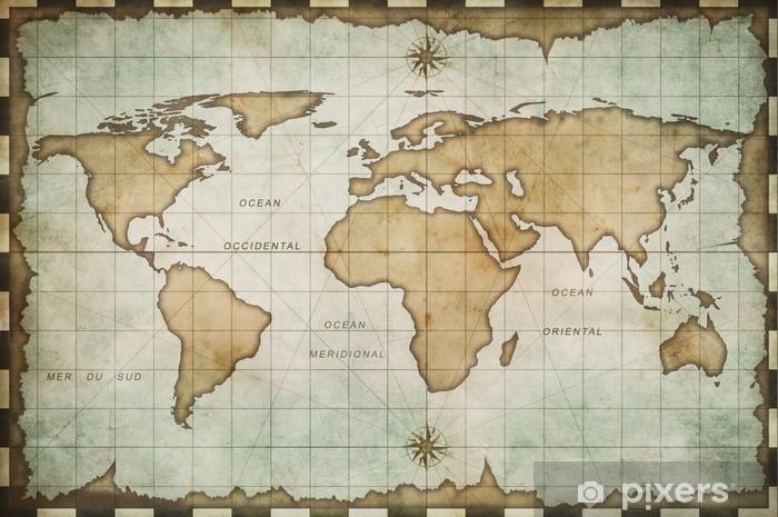 Vinilo Pixerstick Envejecido antiguo mapa del mundo -