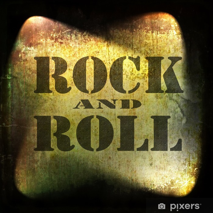 rock and roll music, old rusty wall background Vinyl Wall Mural - Rock