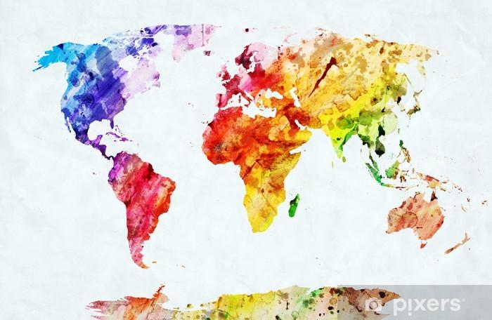 Sticker Pixerstick Carte du monde aquarelle - Styles