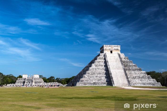 Pixerstick Sticker De beroemde Maya-piramide van Chichen Itza, Mexico - Amerika