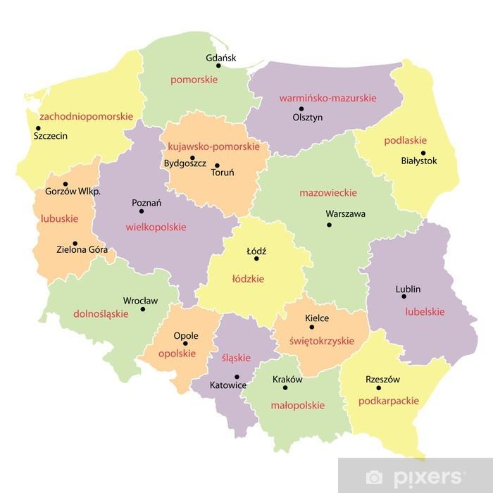 Naklejka Mapa Polski Z Wojewodztw Pixers Zyjemy By Zmieniac