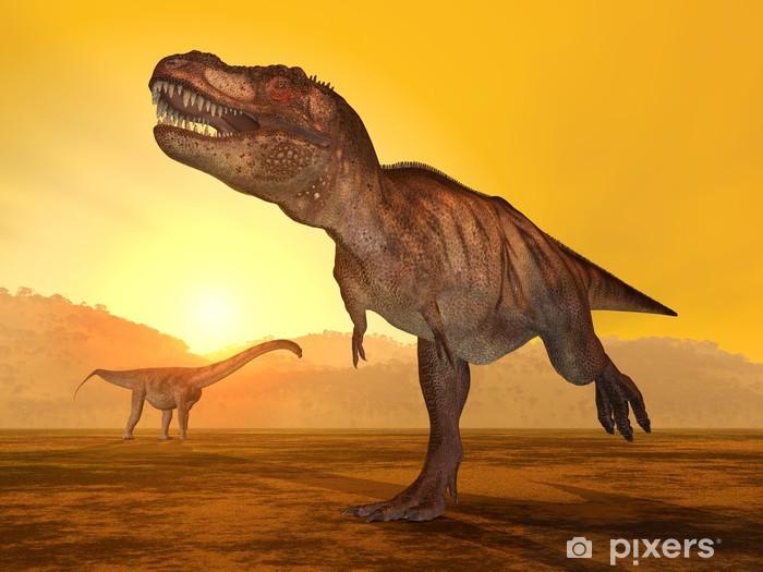 Naklejka Pixerstick Tyrannosaurus Rex i Puertasaurus - Tematy