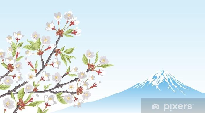 Vinilo Pixerstick Rama Monte Fuji Y La Flor De Cerezo Pixers