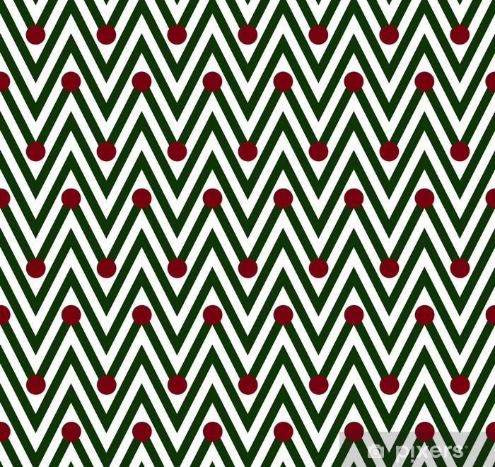 Plakat Zielone i białe poziome paski z Chevron Backg groszki - Tła