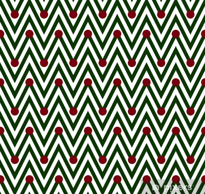Green and White Horizontal Chevron Striped with Polka Dots Backg Poster - Backgrounds