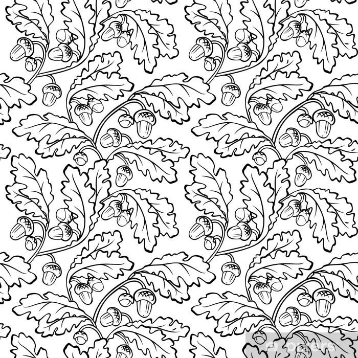 oak leaf acorn black white seamless background Vinyl Wall Mural - Ecology