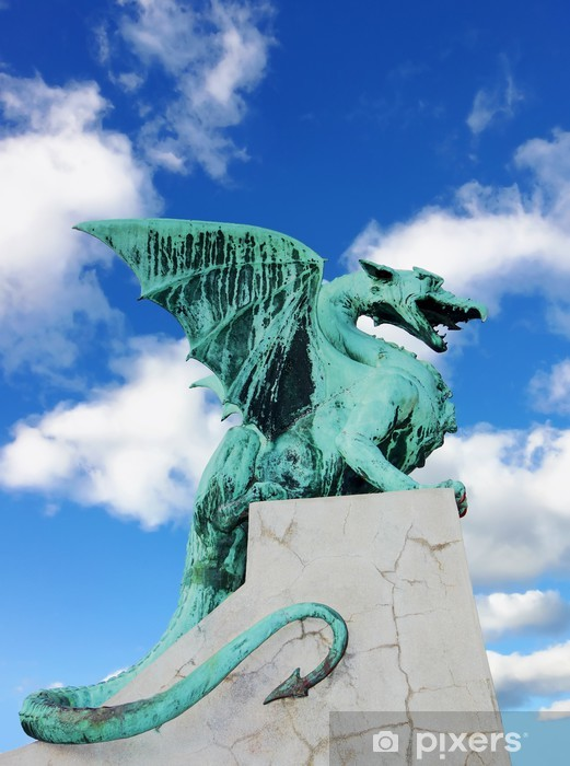 Papier peint vinyle Dragon Bridge (Pont du Dragon), Ljubljana, en Slovénie. - Monuments