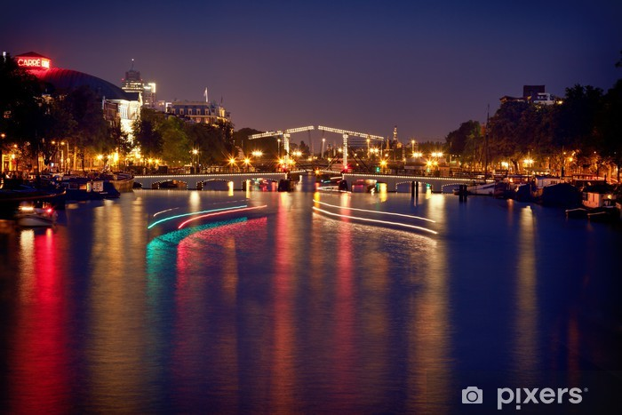 Colorful Reflection of Magere Brug Bridge in Amsterdam at Night Pixerstick Sticker - European Cities