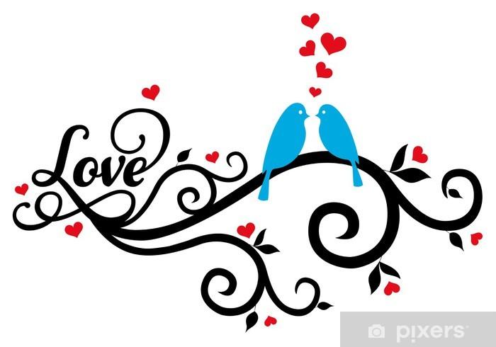 love birds with red hearts, vector Sticker - Pixerstick
