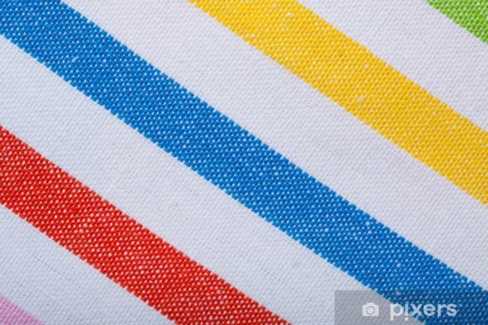 Vinilo Pixerstick Primer plano de la materia textil de rayas de colores como fondo o textura - Texturas