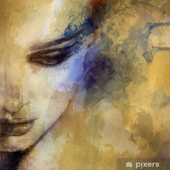 Naklejka Pixerstick Piękna twarz kobiety. Akwarele ilustracji - Style