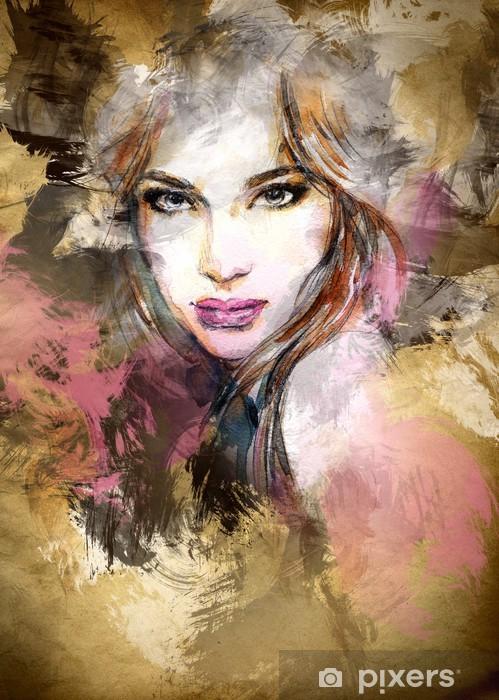 Pixerstick Sticker Mooie vrouw gezicht. aquarel illustratie -