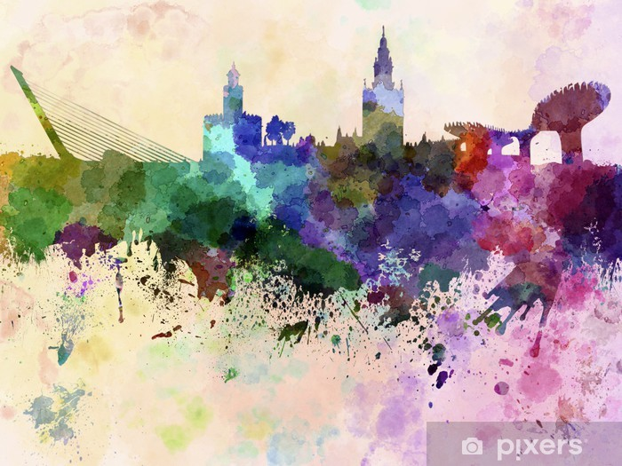 Seville skyline in watercolor background Vinyl Wall Mural - Themes