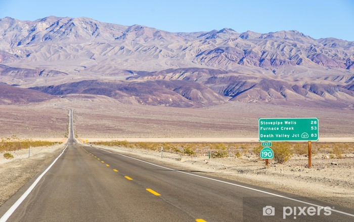 Death Valley landscape and road sign,California Vinyl Wall Mural - Themes