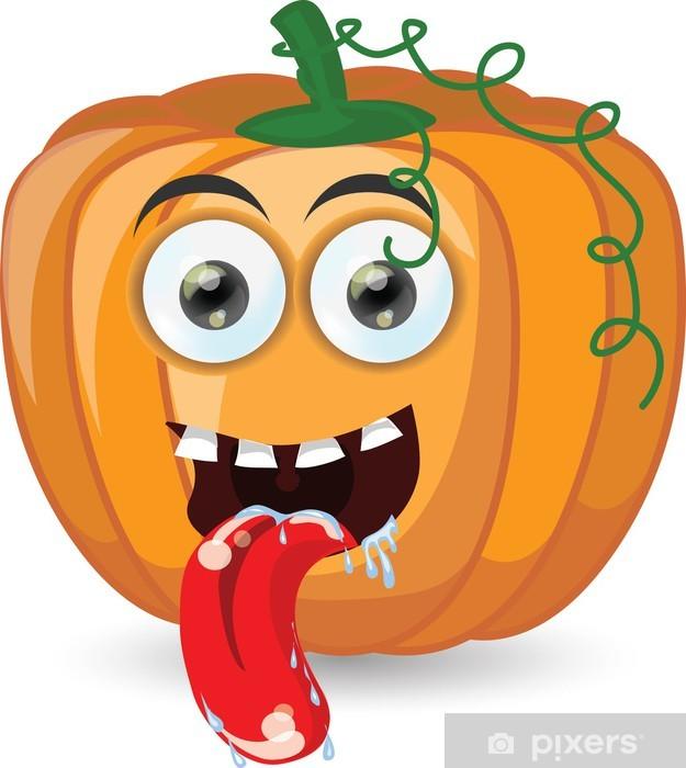 Zucche Di Halloween Cartoni Animati.Carta Da Parati In Vinile Zucca Di Cartone Animato Per Halloween