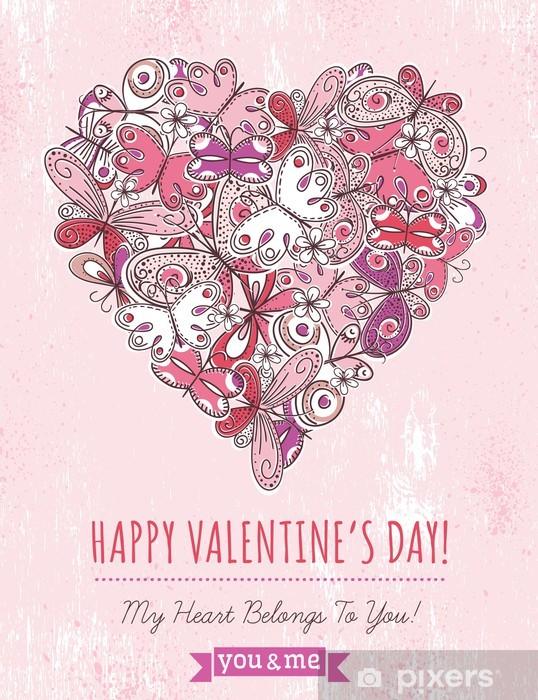Adesivo Grunge Rosa Sfondo Con Il Cuore Di San Valentino Di Farfalle