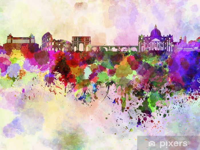 Rome skyline in watercolor background Pixerstick Sticker - Themes