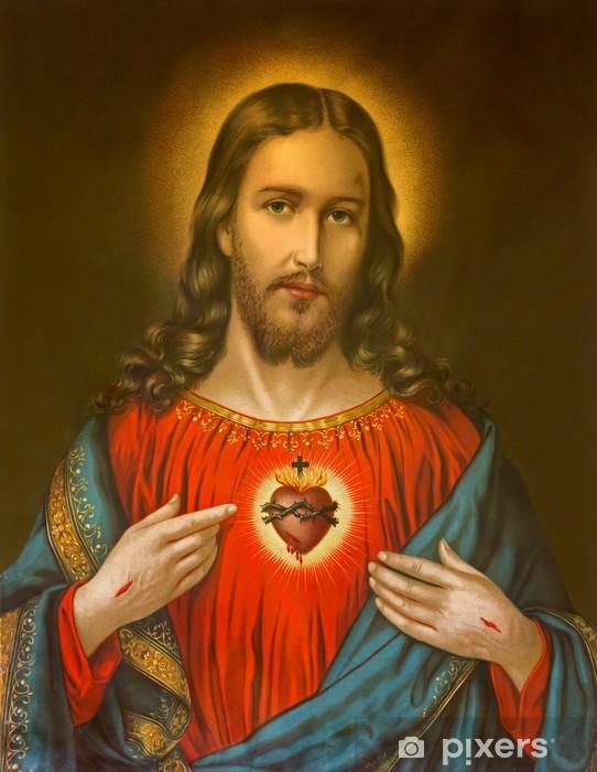 Vinyl-Fototapete Typisch katholische Bild des Herzens Jesu Christi - Themen
