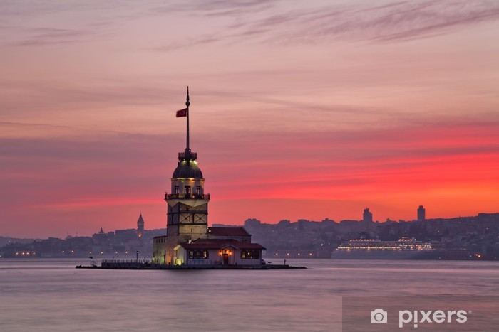 Nálepka Pixerstick Panenská věž při západu slunce. Istanbul, Turecko - Asijská města