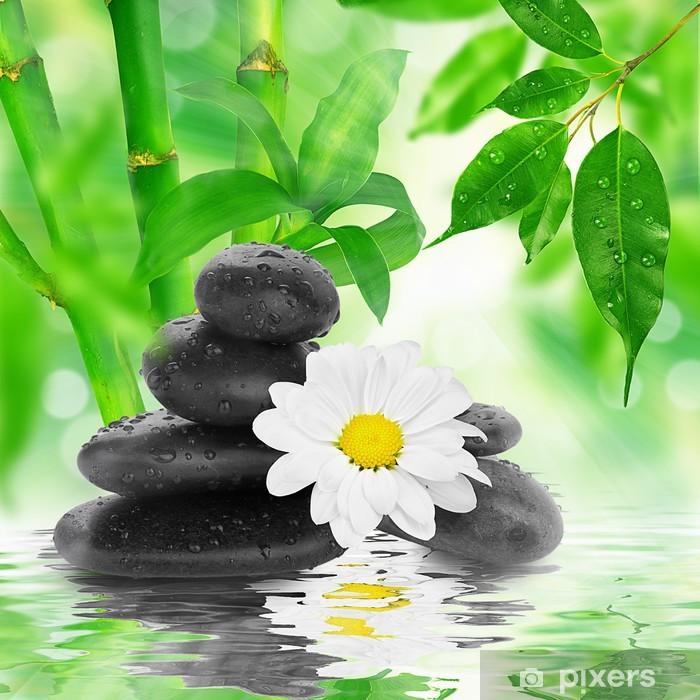 Papier peint vinyle Spa de fond - pierres noires et bambou sur l'eau - Thèmes