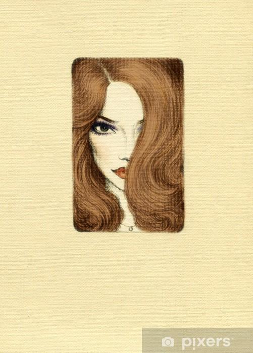 Carta da Parati in Vinile Bella donna di fronte. acquerello illustrazione - Donne