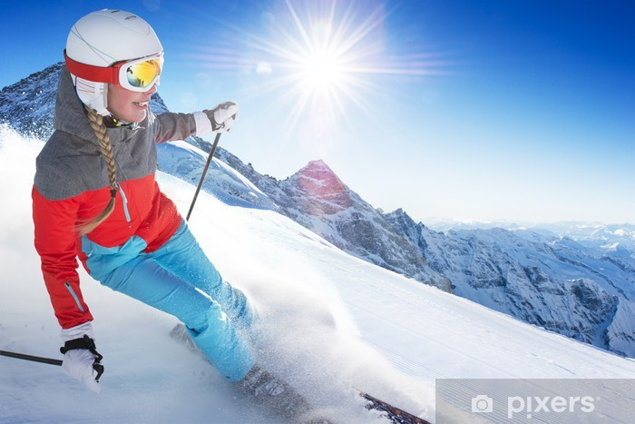 Papier peint vinyle Fille sur le ski - Maisons et jardins