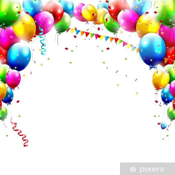 Vinilo Pixerstick Globos de cumpleaños aislado en el fondo blanco - Celebraciones