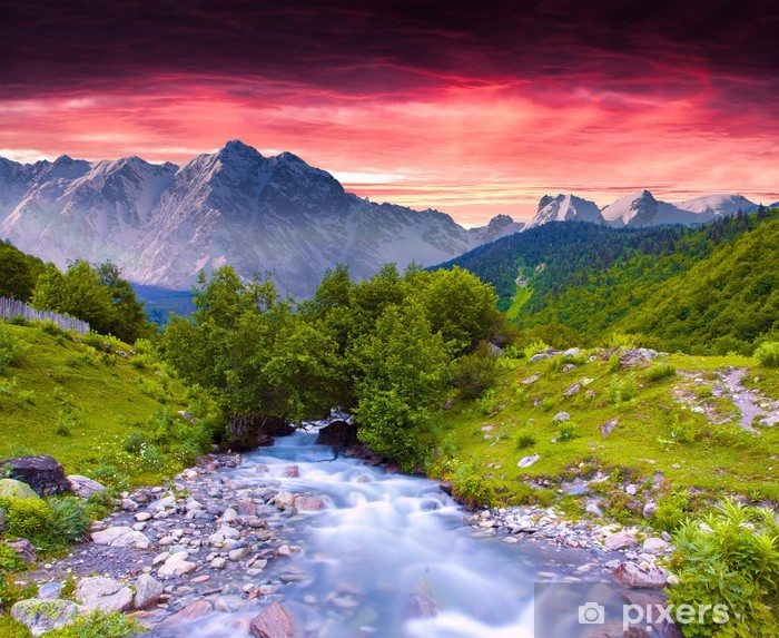Colorful summer landscape near the river in the huge mountains. Vinyl Wall Mural - Seasons