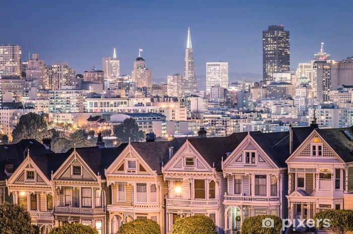 Fototapeta winylowa The Painted Ladies - San Francisco Skyline - Miasta amerykańskie