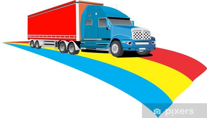 Aufkleber Lustige Farbige Autobahn Und Lkw Pixerstick