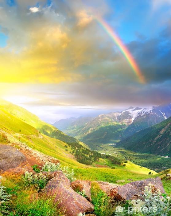 Rainbow after rain in the mountain valley. Pixerstick Sticker - Rainbows