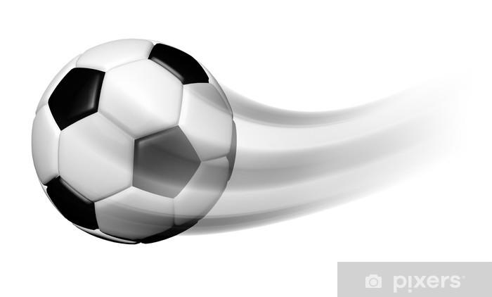 a6bac9c2 Fototapet av vinyl Fotball ball i bevegelse isolert på hvit bakgrunn -  Sportsutstyr