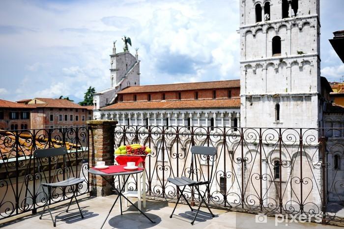 Kathedraal Van Lucca.Fotobehang Vinyl Terras Met Uitzicht Op De Kathedraal Van Lucca Toscane Italie