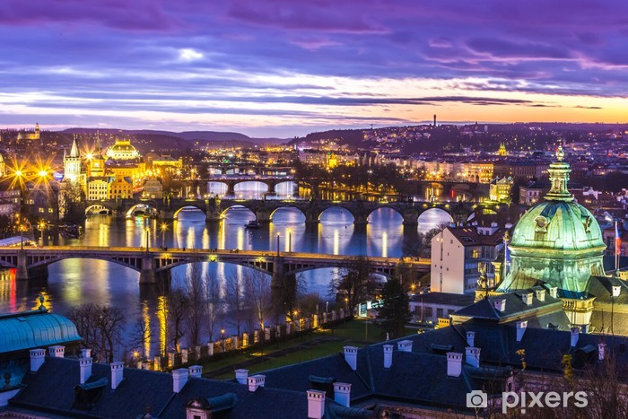 Bridges in Prague over the river at sunset Vinyl Wall Mural - Prague