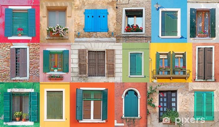 Vinil Duvar Resmi İtalyan pencereler - Özel binalar