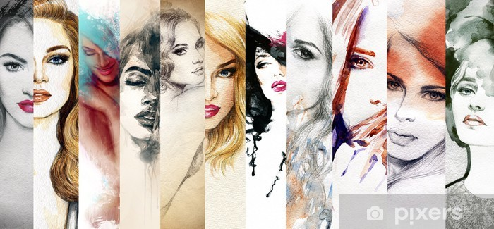 Beautiful woman face. watercolor illustration Pixerstick Sticker - Fashion