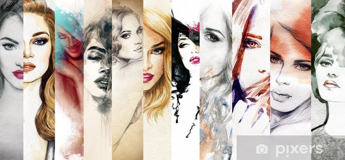 Pixerstick Sticker Mooie vrouw gezicht. aquarel illustratie - Mode