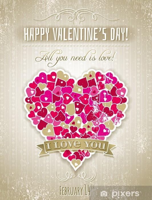 Sticker Pixerstick Saint Valentin carte de voeux avec le coeur et souhaite texte, vect - Fêtes internationales