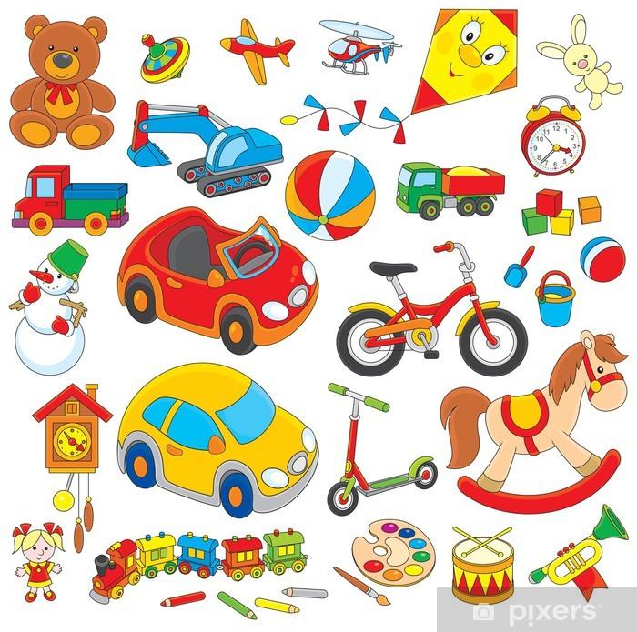 Papier peint vinyle Ensemble de jouets colorés - Jeux