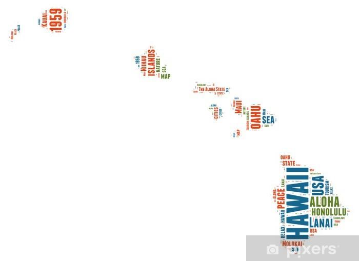 Hawaii Usa State Kartta Tag Cloud Pixerstick Tarra Pixers