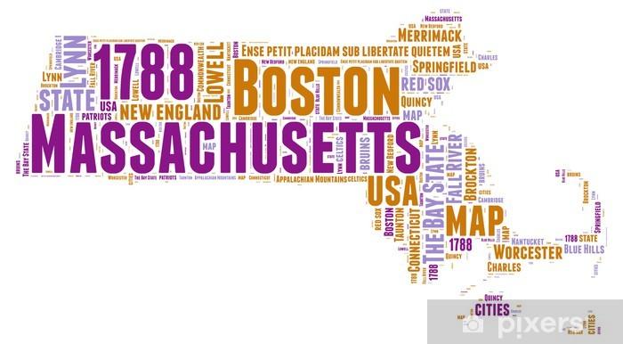 Fototapete Massachusetts USA State Map Tag Cloud