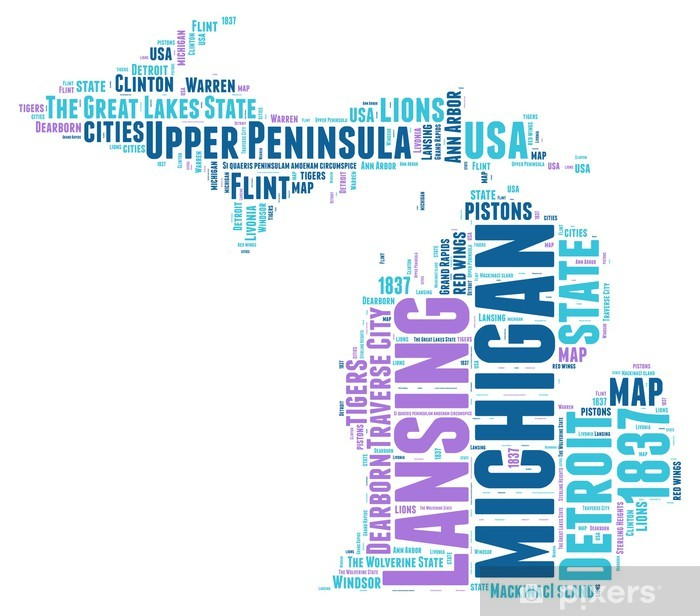 Michigan USA state map tag cloud Poster
