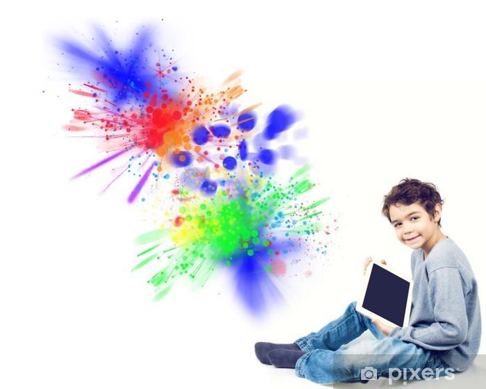 Papier peint vinyle Enfant avec iPad - Signes et symboles