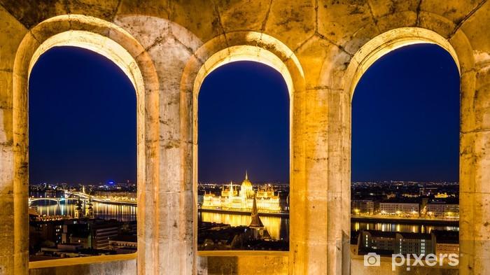Naklejka Pixerstick Budapeszt, widok nocny Parlament z Baszty Rybackiej - Europa