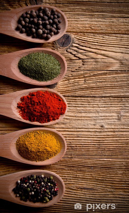 Assorted spices on wooden background Vinyl Wall Mural - Spices, Herbs and Condiments